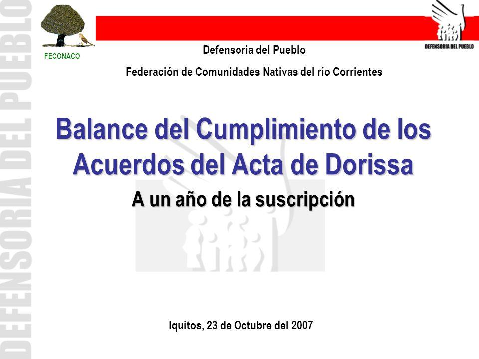 Balance del Cumplimiento de los Acuerdos del Acta de Dorissa