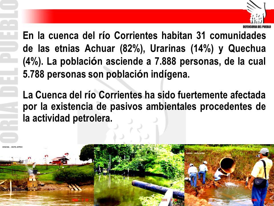 En la cuenca del río Corrientes habitan 31 comunidades de las etnias Achuar (82%), Urarinas (14%) y Quechua (4%). La población asciende a 7.888 personas, de la cual 5.788 personas son población indígena.