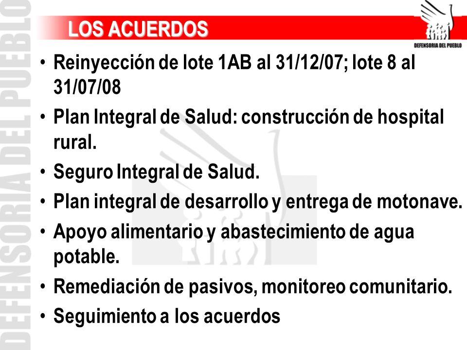 LOS ACUERDOS Reinyección de lote 1AB al 31/12/07; lote 8 al 31/07/08
