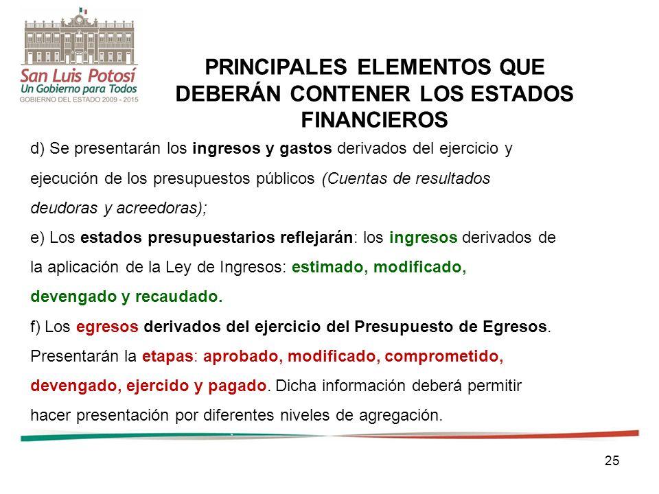 PRINCIPALES ELEMENTOS QUE DEBERÁN CONTENER LOS ESTADOS FINANCIEROS