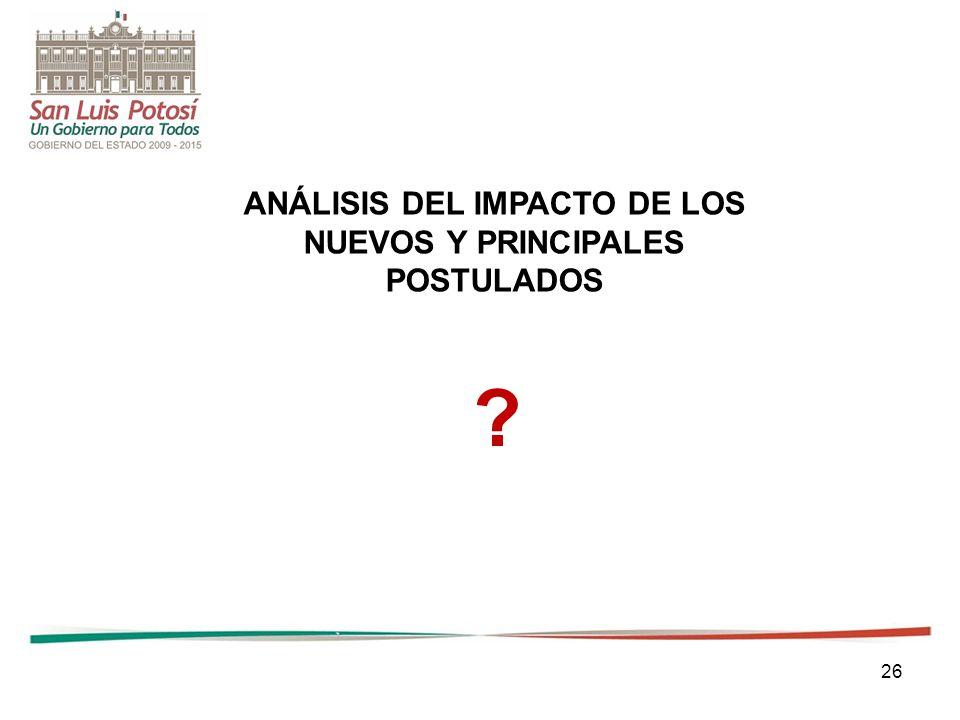 ANÁLISIS DEL IMPACTO DE LOS NUEVOS Y PRINCIPALES POSTULADOS