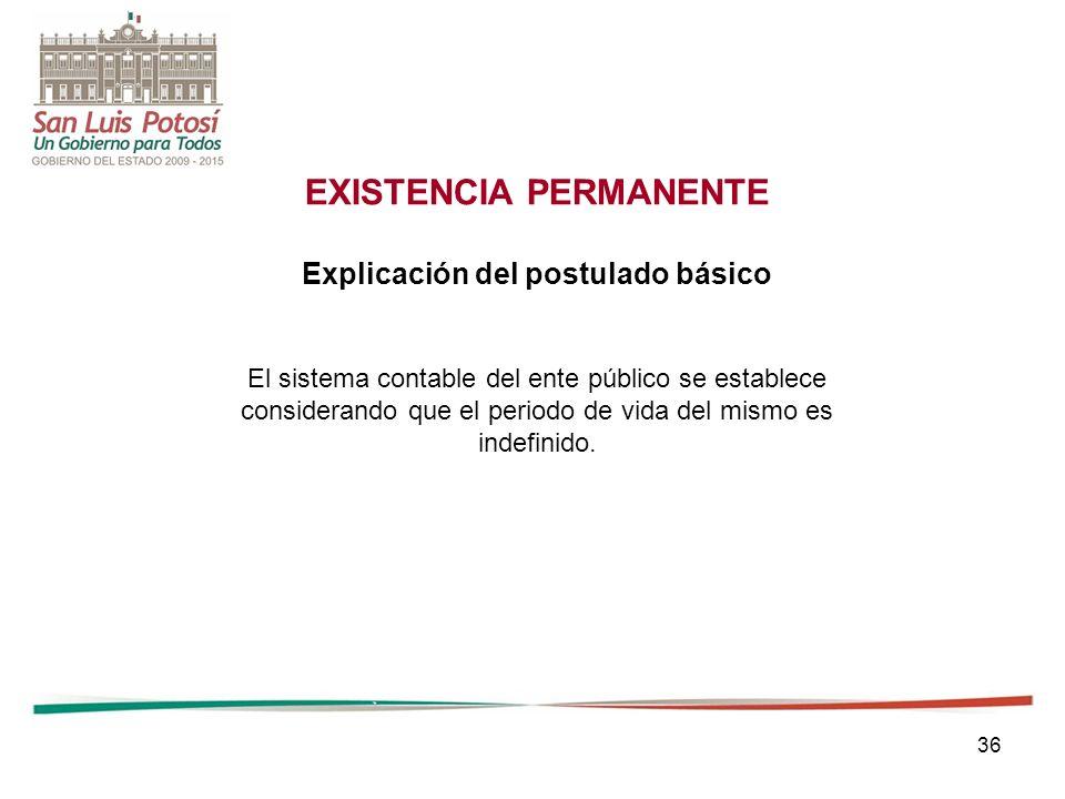 EXISTENCIA PERMANENTE Explicación del postulado básico