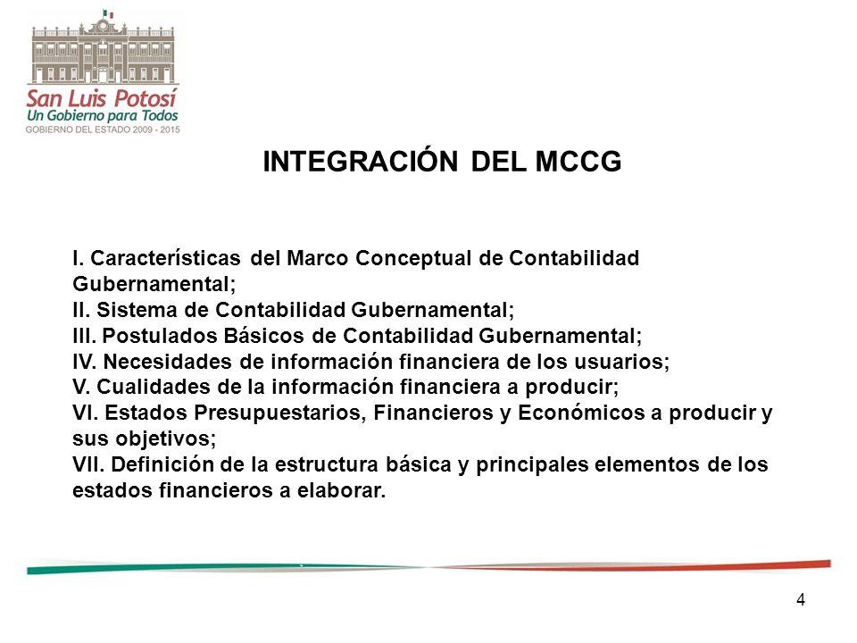 INTEGRACIÓN DEL MCCG I. Características del Marco Conceptual de Contabilidad. Gubernamental; II. Sistema de Contabilidad Gubernamental;