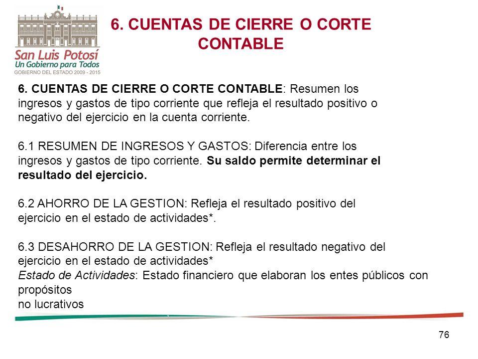 6. CUENTAS DE CIERRE O CORTE