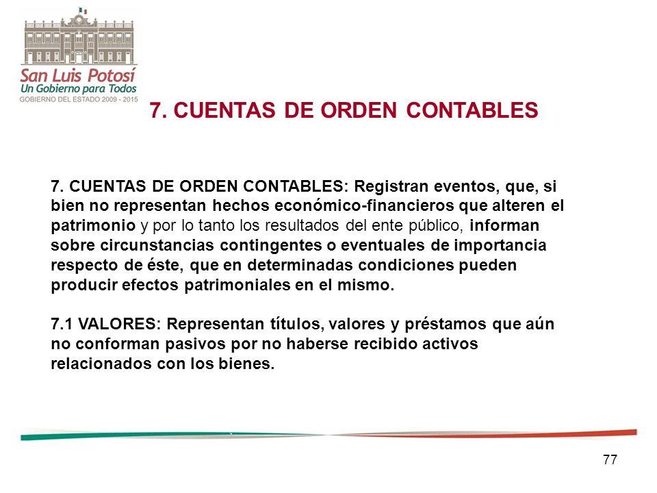 7. CUENTAS DE ORDEN CONTABLES