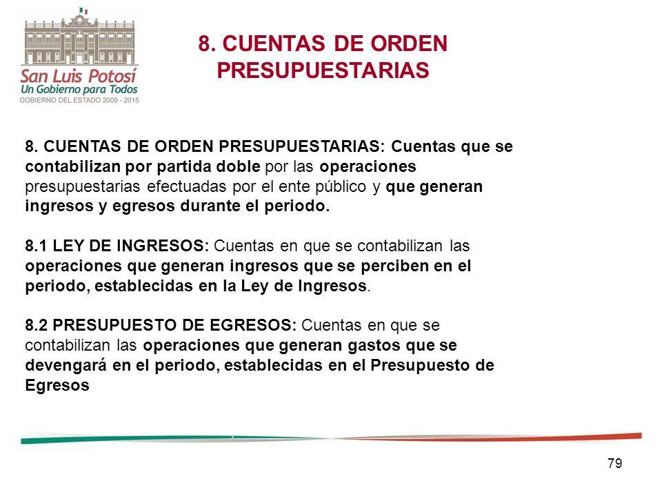 8. CUENTAS DE ORDEN PRESUPUESTARIAS