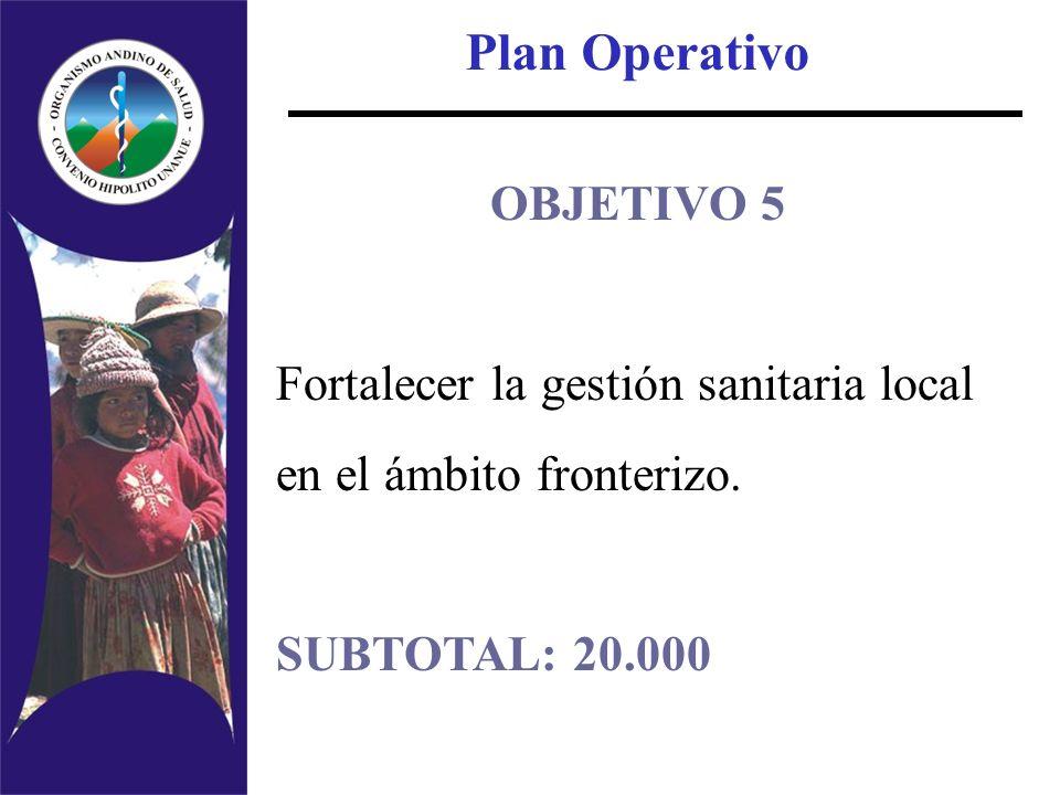 Plan Operativo OBJETIVO 5 Fortalecer la gestión sanitaria local