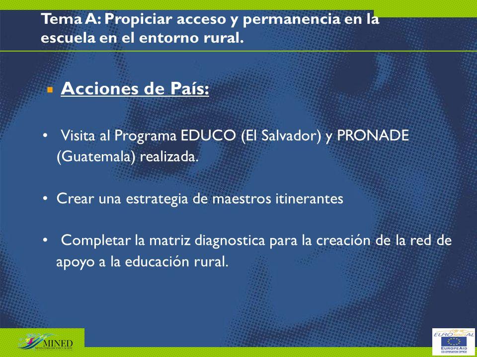 Tema A: Propiciar acceso y permanencia en la escuela en el entorno rural.