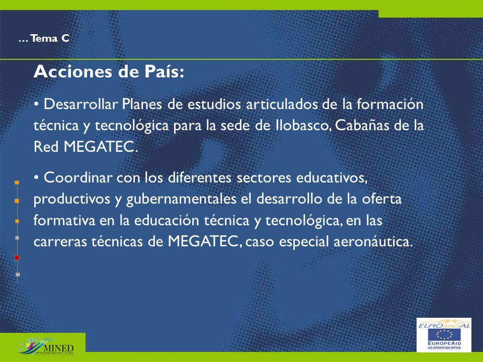 … Tema C Acciones de País: