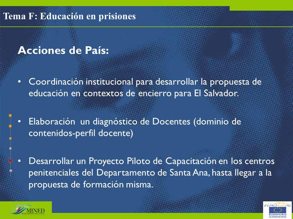 Acciones de País: Tema F: Educación en prisiones