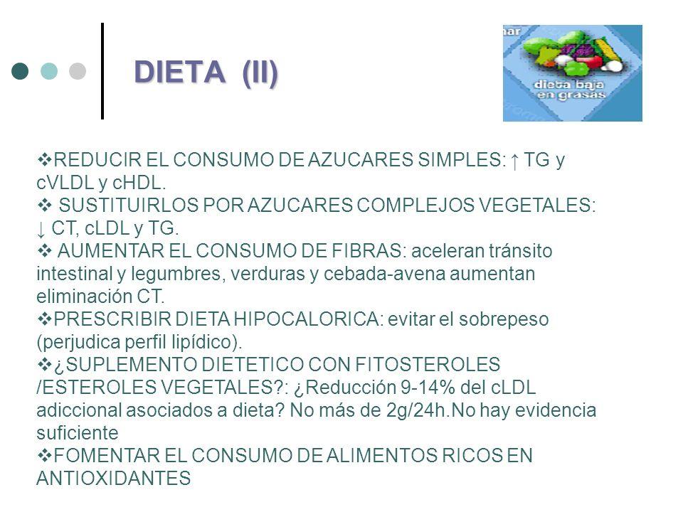 DIETA (II)REDUCIR EL CONSUMO DE AZUCARES SIMPLES: ↑ TG y cVLDL y cHDL. SUSTITUIRLOS POR AZUCARES COMPLEJOS VEGETALES: ↓ CT, cLDL y TG.