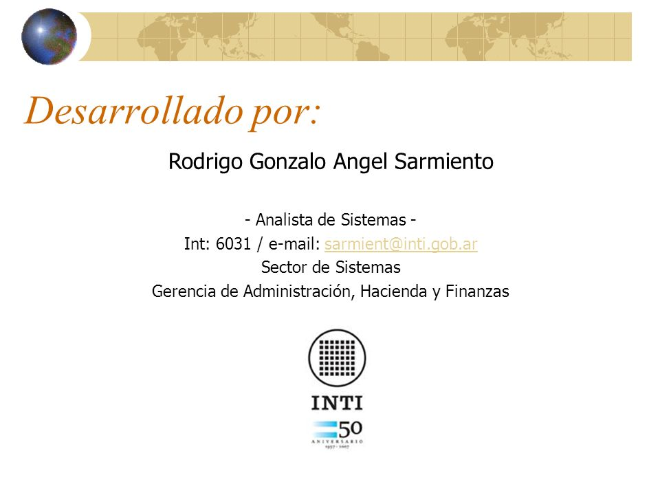 Desarrollado por: Rodrigo Gonzalo Angel Sarmiento