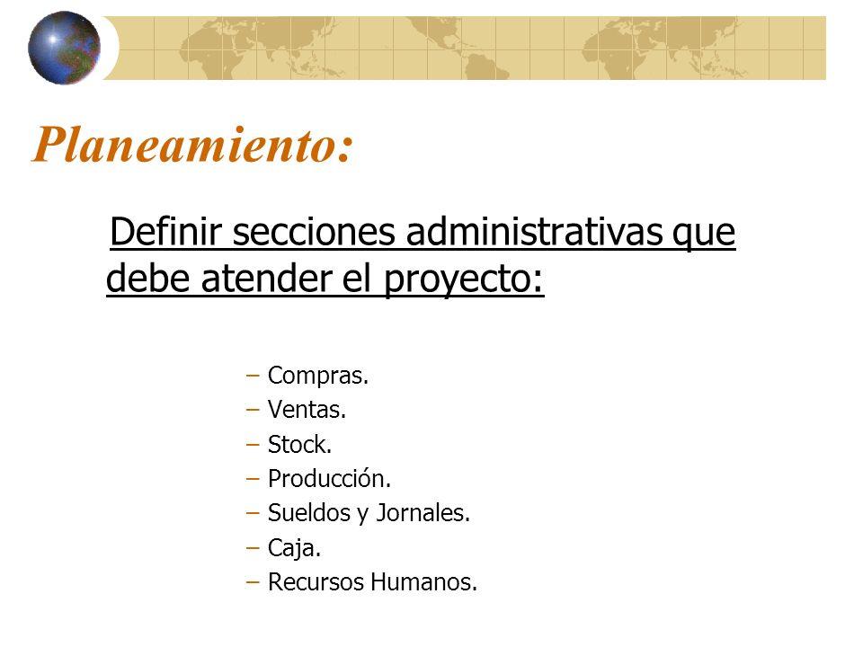 Planeamiento: Definir secciones administrativas que debe atender el proyecto: Compras. Ventas. Stock.