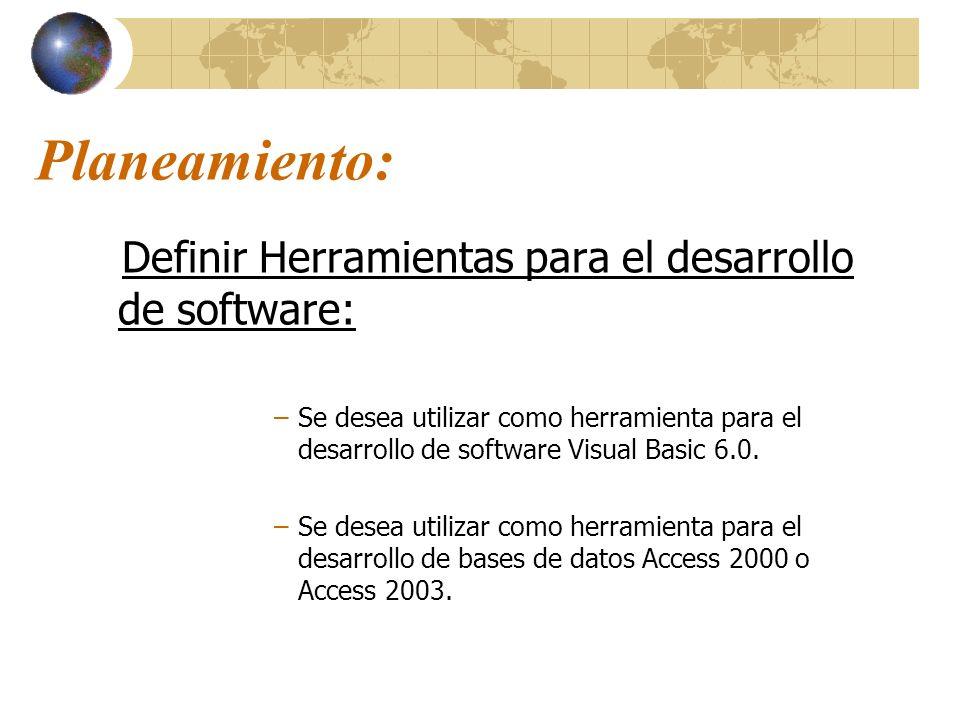 Planeamiento: Definir Herramientas para el desarrollo de software: