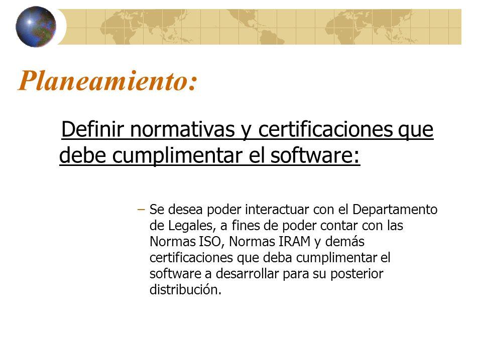 Planeamiento: Definir normativas y certificaciones que debe cumplimentar el software: