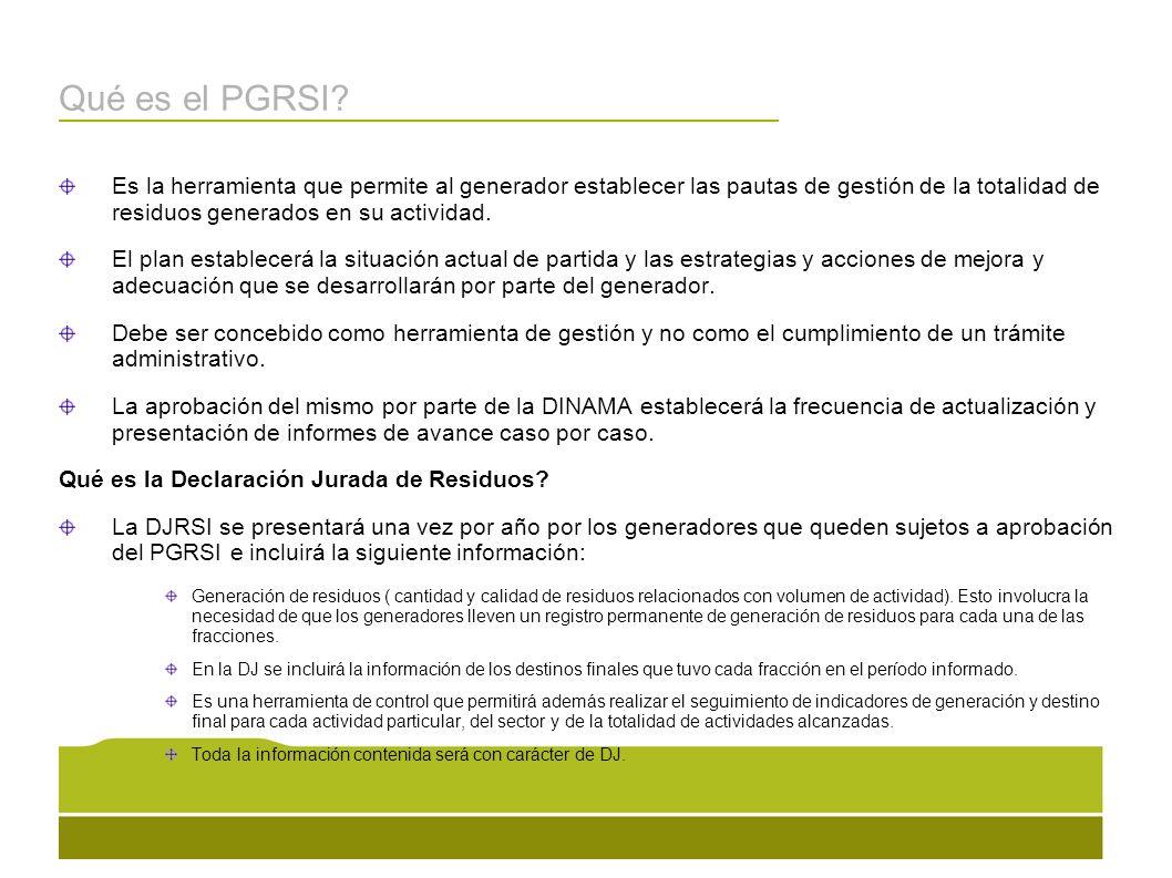 Qué es el PGRSI Es la herramienta que permite al generador establecer las pautas de gestión de la totalidad de residuos generados en su actividad.