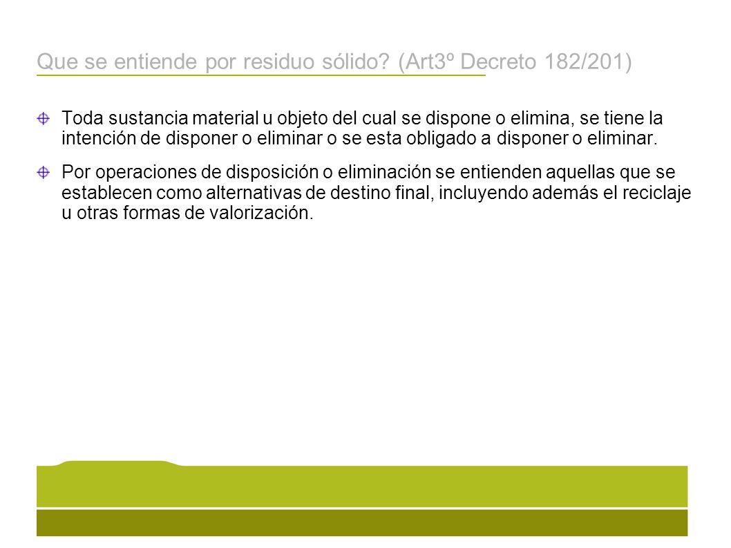Que se entiende por residuo sólido (Art3º Decreto 182/201)