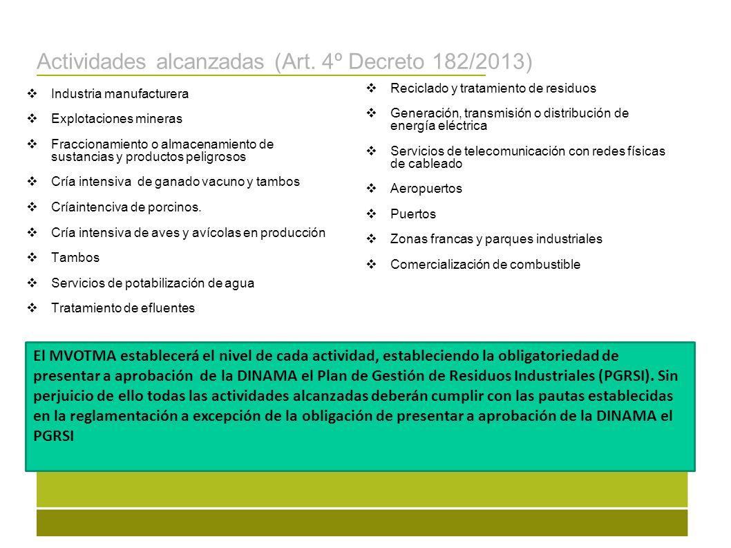 Actividades alcanzadas (Art. 4º Decreto 182/2013)