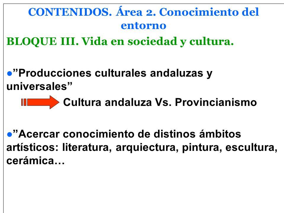 CONTENIDOS. Área 2. Conocimiento del entorno
