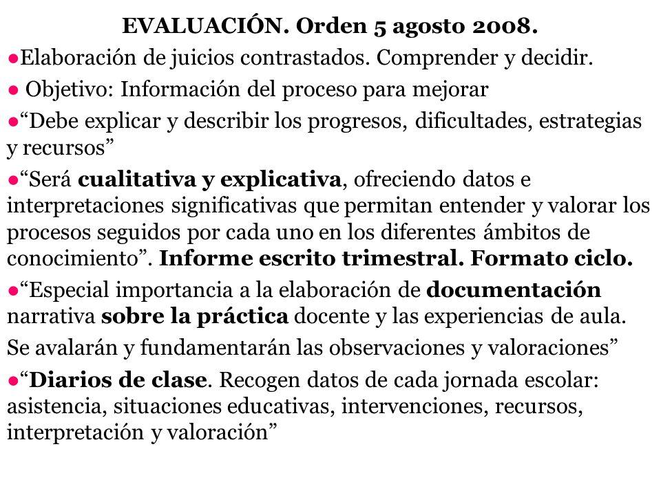 EVALUACIÓN. Orden 5 agosto 2008.