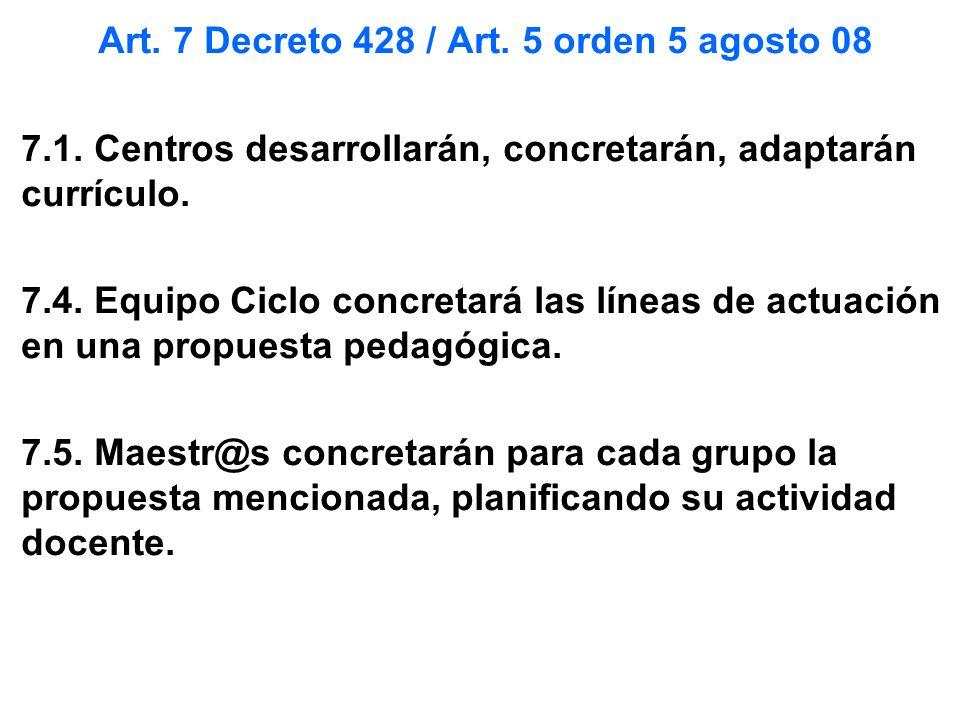 Art. 7 Decreto 428 / Art. 5 orden 5 agosto 08