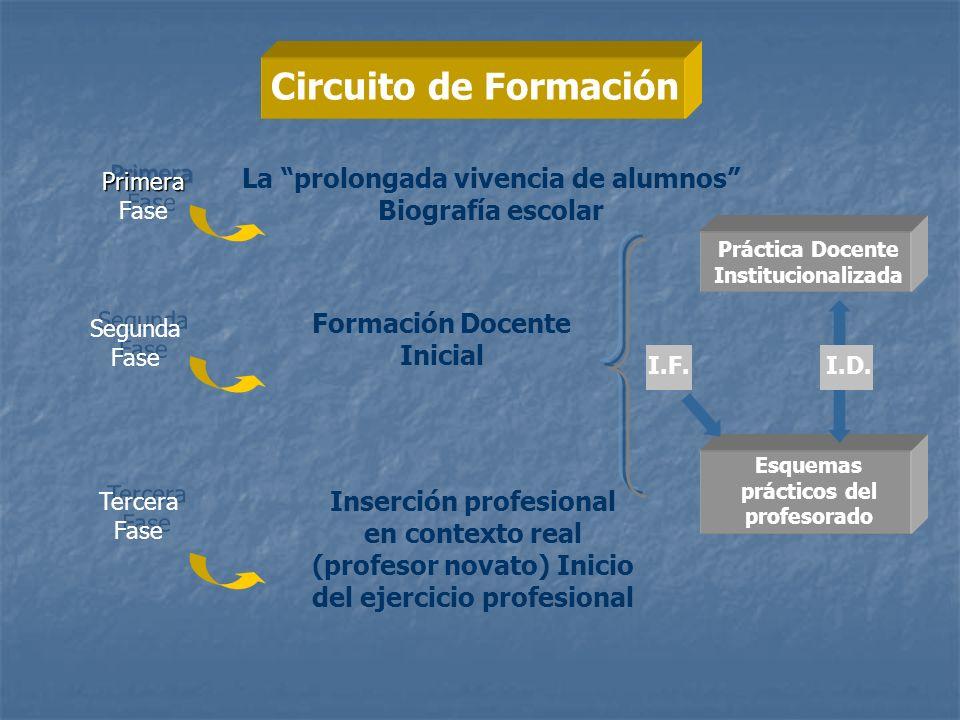 Circuito de Formación Primera Fase. La prolongada vivencia de alumnos Biografía escolar. Práctica Docente Institucionalizada.