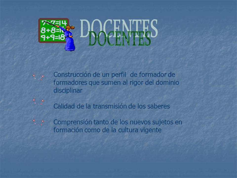 DOCENTES Construcción de un perfil de formador de formadores que sumen al rigor del dominio disciplinar.