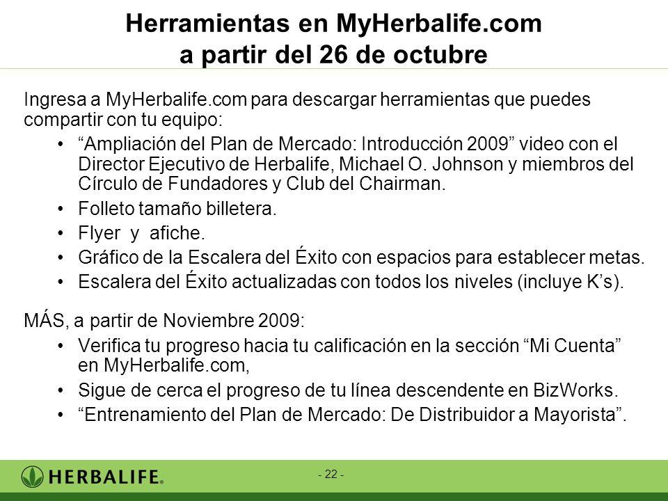 Herramientas en MyHerbalife.com a partir del 26 de octubre
