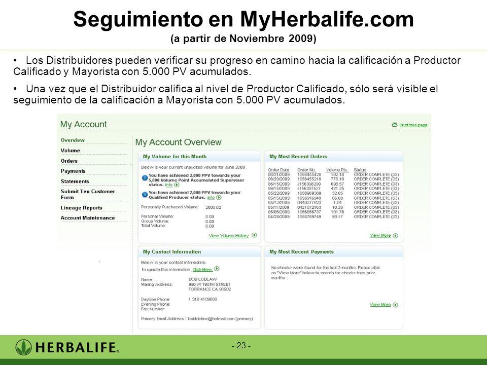 Seguimiento en MyHerbalife.com (a partir de Noviembre 2009)