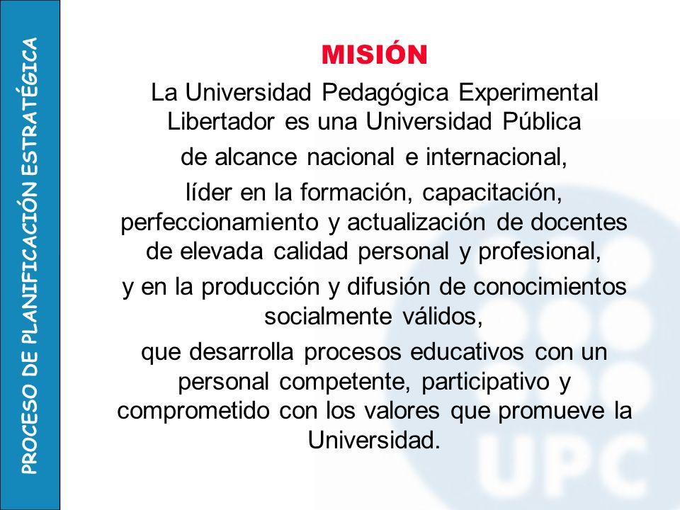 MISIÓN La Universidad Pedagógica Experimental Libertador es una Universidad Pública. de alcance nacional e internacional,