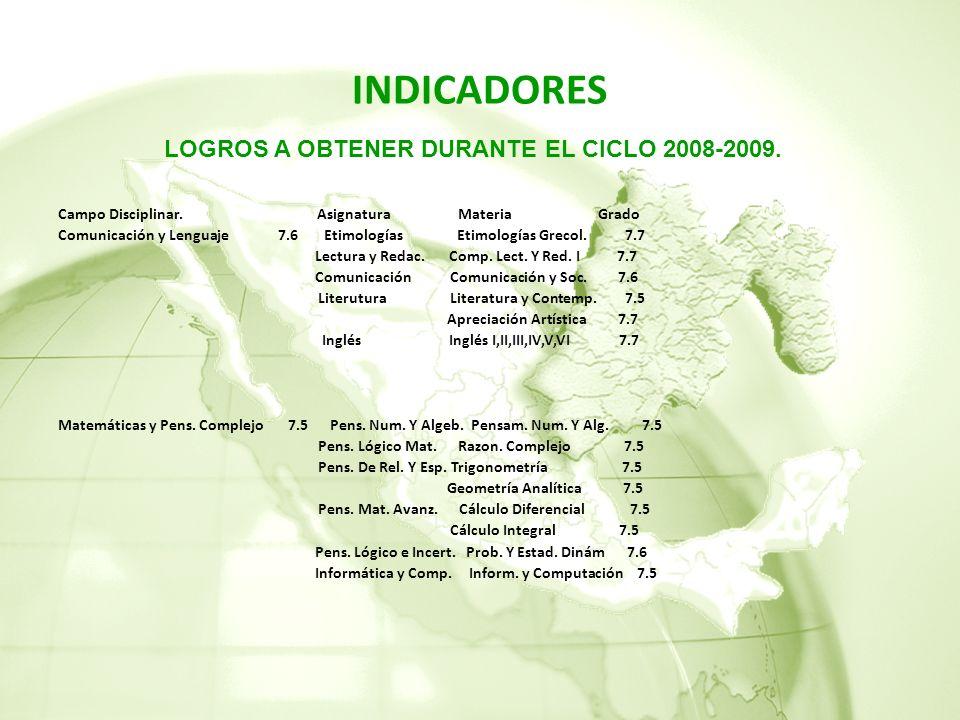 LOGROS A OBTENER DURANTE EL CICLO 2008-2009.