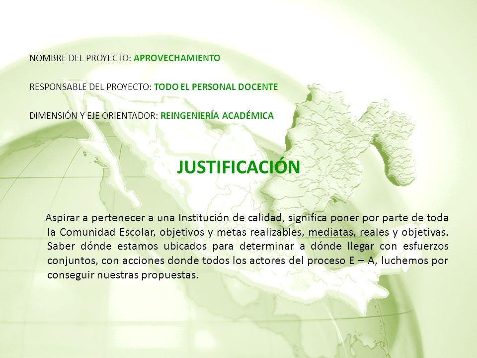 JUSTIFICACIÓN NOMBRE DEL PROYECTO: APROVECHAMIENTO
