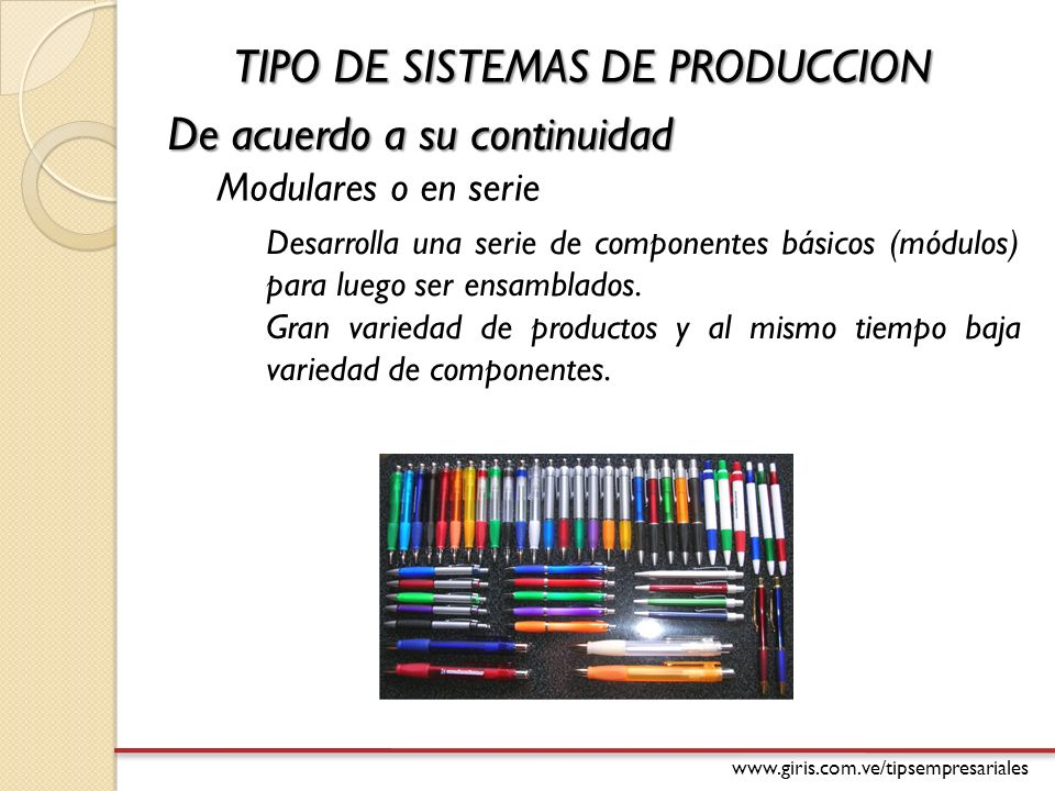 TIPO DE SISTEMAS DE PRODUCCION De acuerdo a su continuidad