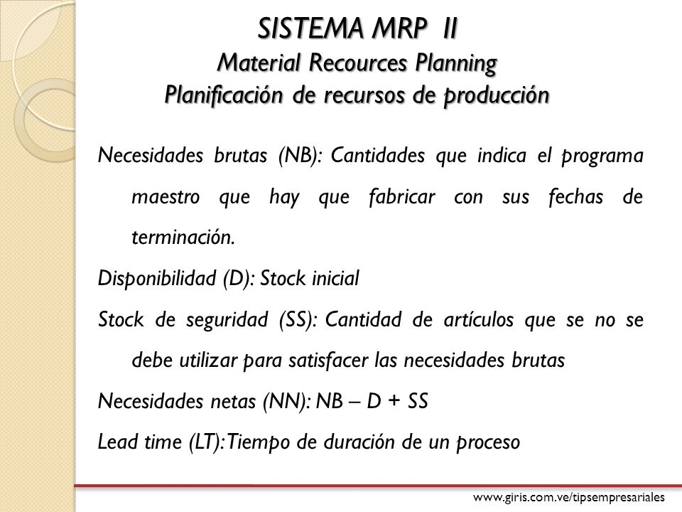 SISTEMA MRP II Material Recources Planning