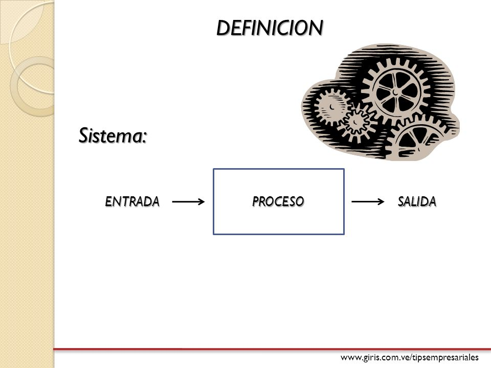 DEFINICION Sistema: PROCESO ENTRADA SALIDA