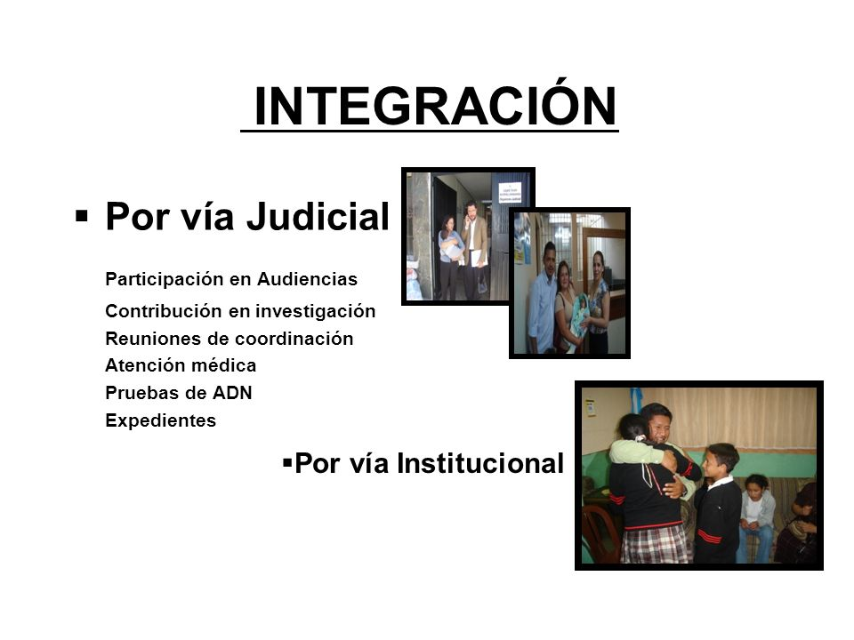 INTEGRACIÓN Por vía Judicial Participación en Audiencias