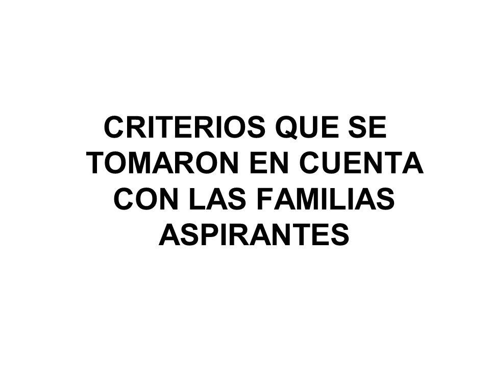 CRITERIOS QUE SE TOMARON EN CUENTA CON LAS FAMILIAS ASPIRANTES