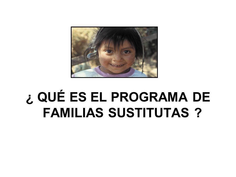 ¿ QUÉ ES EL PROGRAMA DE FAMILIAS SUSTITUTAS