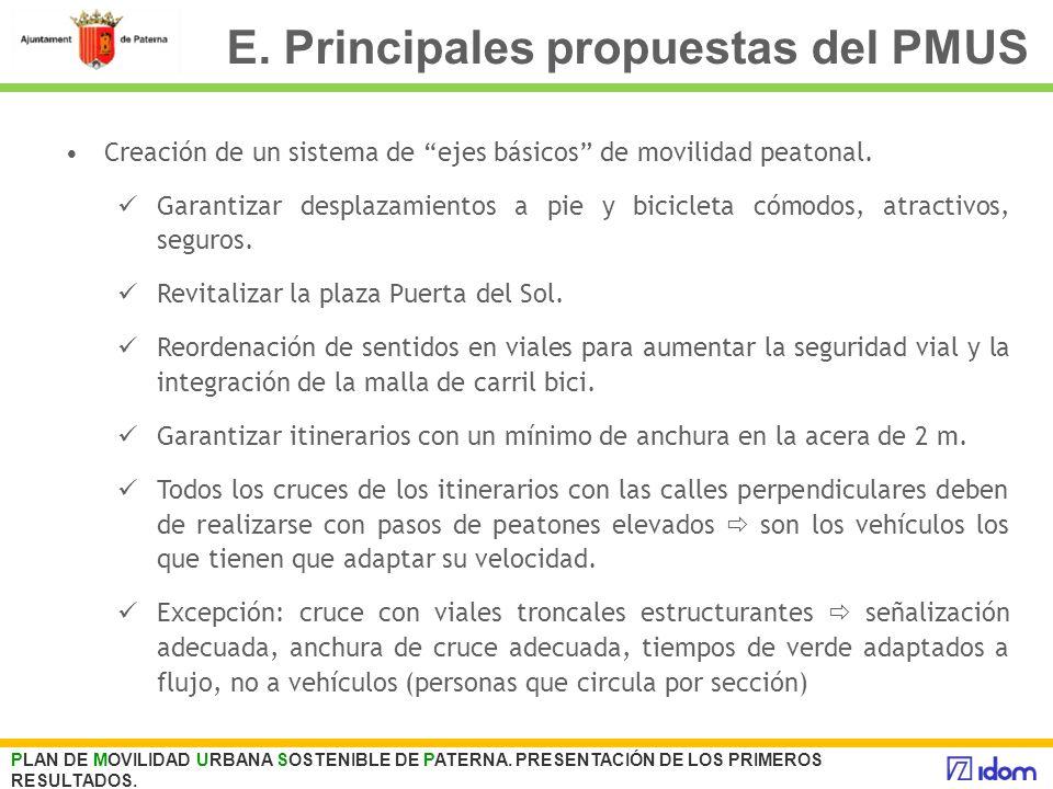 E. Principales propuestas del PMUS