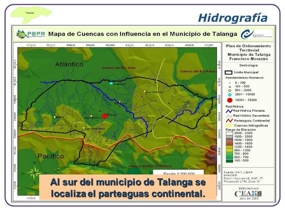 Al sur del municipio de Talanga se localiza el parteaguas continental.