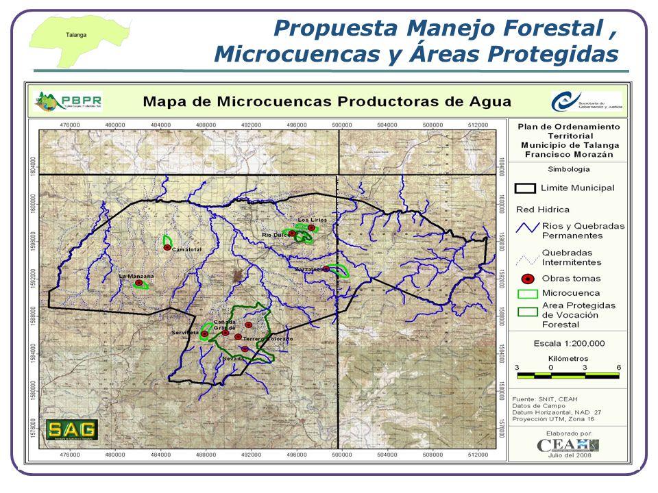 Propuesta Manejo Forestal , Microcuencas y Áreas Protegidas