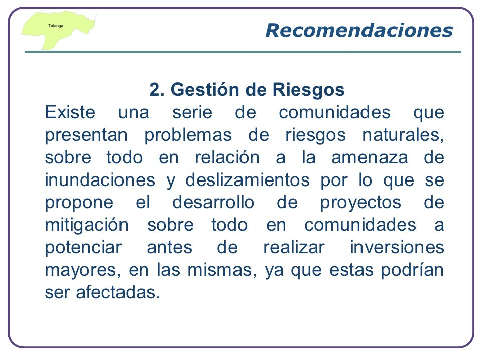 Recomendaciones 2. Gestión de Riesgos.
