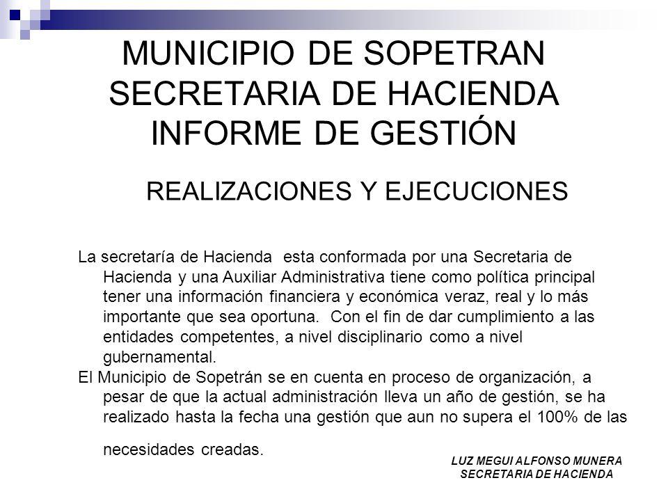 MUNICIPIO DE SOPETRAN SECRETARIA DE HACIENDA INFORME DE GESTIÓN