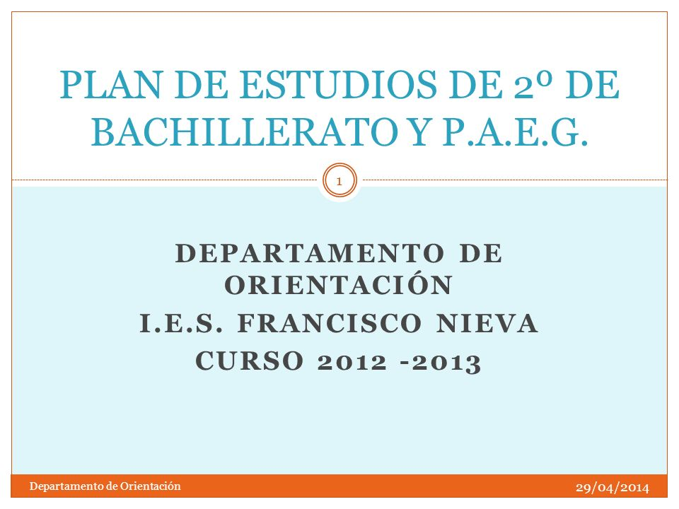 PLAN DE ESTUDIOS DE 2º DE BACHILLERATO Y P.A.E.G.