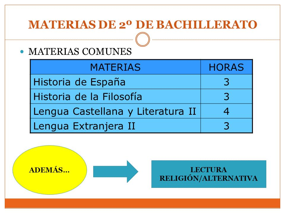 MATERIAS DE 2º DE BACHILLERATO