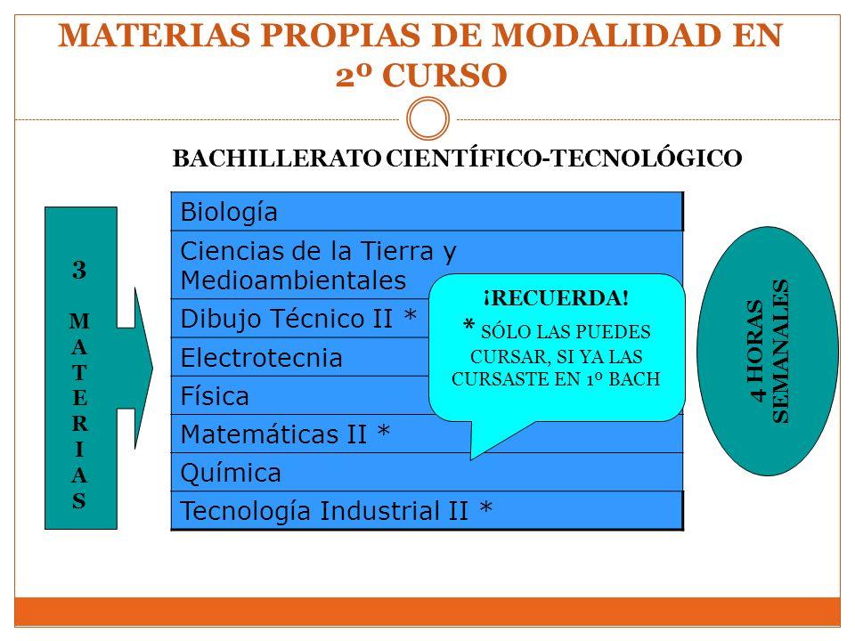 MATERIAS PROPIAS DE MODALIDAD EN 2º CURSO