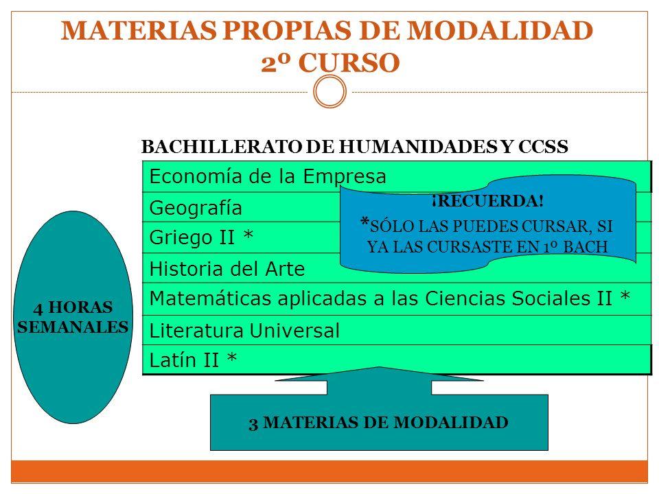 MATERIAS PROPIAS DE MODALIDAD 2º CURSO