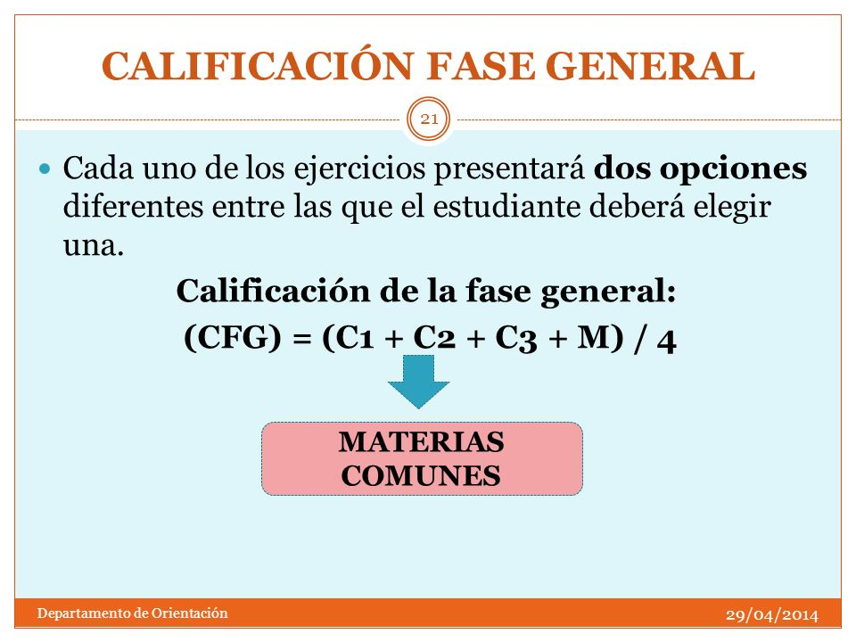 CALIFICACIÓN FASE GENERAL