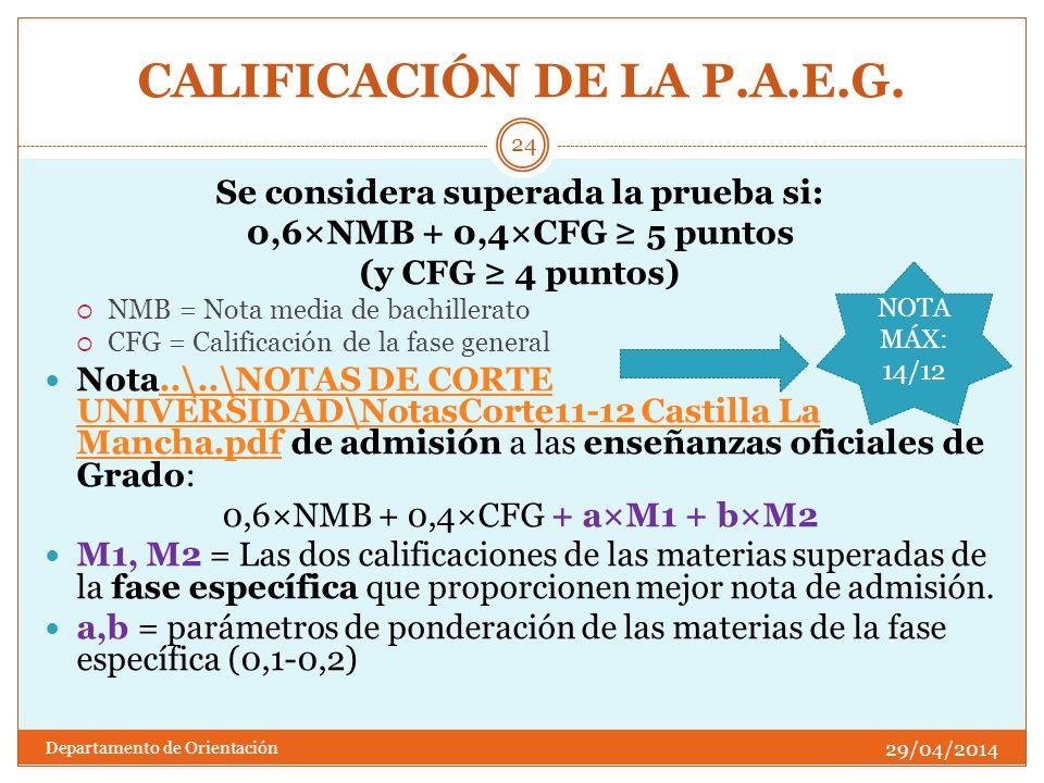 CALIFICACIÓN DE LA P.A.E.G.