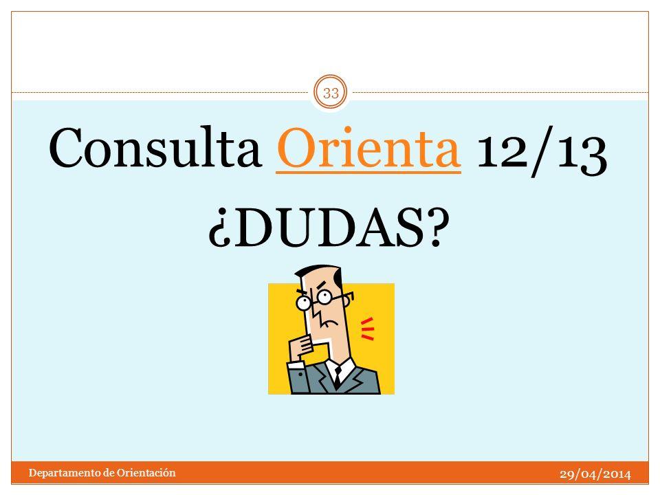 Consulta Orienta 12/13 ¿DUDAS